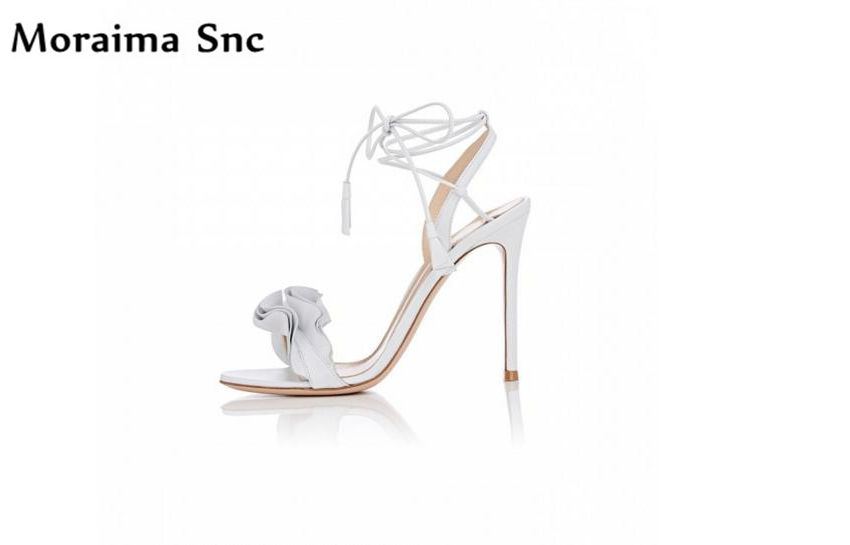 Moraima Snc Newest sexy women sandals Ruffles open toe vintage suede thin high heel slingback Ankle strap narrow band moraima snc newest sexy women black string bead concise type sandals open toe thin high heel ankle strap hook solid party shoes