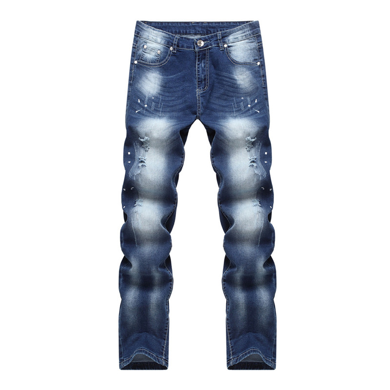 2016 New Style Hole Patch Beggars Slim Men Jeans Pants Mens Denim Distressed Straight Slim Elastic