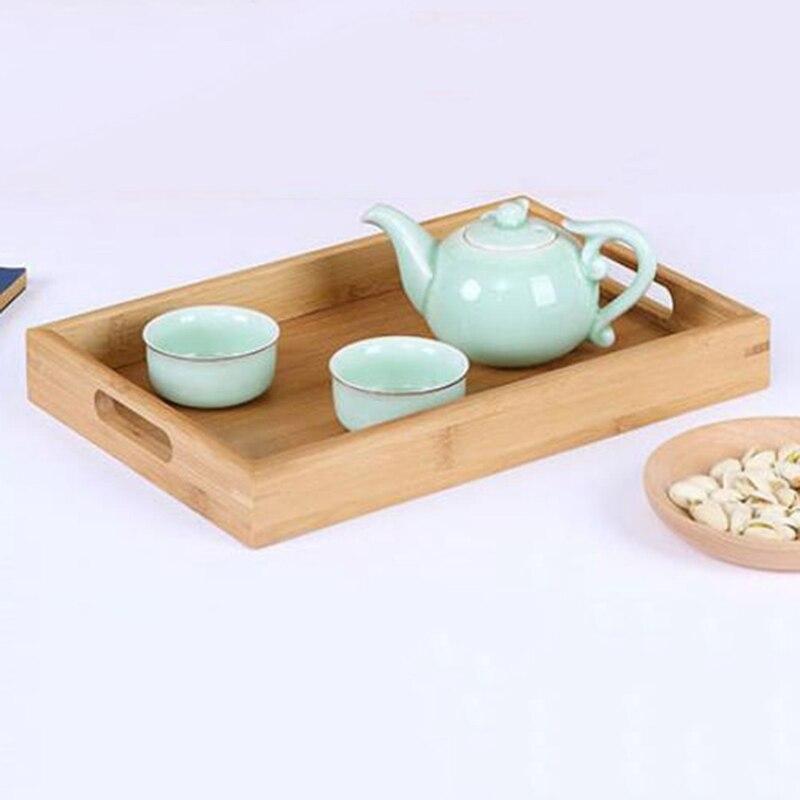 органайзеры для кухни поднос Прямоугольный деревянный поднос для сервировки чайных столовых приборов поддон для хранения фруктов тарелка украшение еды бамбук-3