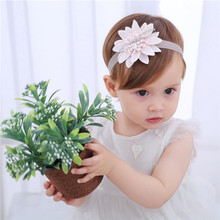 New baby Floral Bow Child Girl headband Turban Silver Ribbon Hair Band Handmade DIY Hair Accessories For newborn toddler baby headband ribbon flower handmade diy toddler kid hair accessories floral girl newborn bows photography turban elastic infant