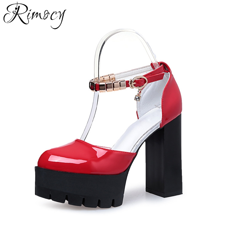 Rimocy high heels sweet Japanese shoes all match patent leather round toe ankle strap pumps thick heel platform women sandals
