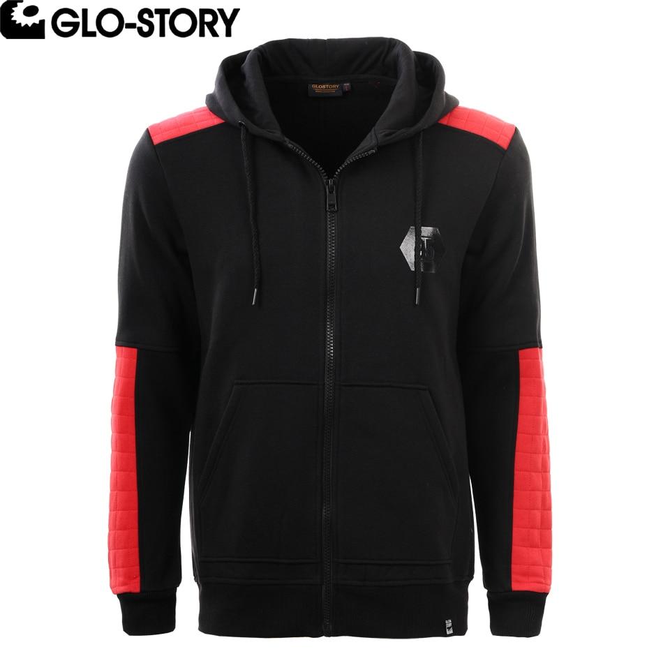 GLO-STORY Mens Full Zipper Hip Hop Hoodie Sweatshirt Men Red Patchwork Streetwear Tracksuit Fleece Sweat Coat MPU-2778