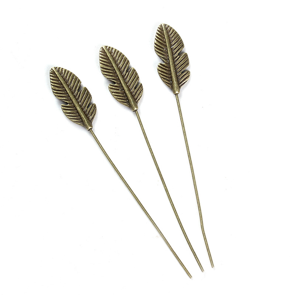 DoreenBeads Zinc Based Alloy Antique Bronze Head Pins Feather Pattern DIY Components 6.4cm(2 4/8