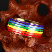 LGBT Pride Gold Titanium Steel Enamel Ring For Marriage