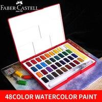 Faber-Castell 24/36/48 Цвета одноцветное Рисование акварелью комплект коробка с кистью яркий Цвет Портативный воды Цвет набор краски