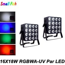 2Pcs/Lot Aluminum Alloy LED Flat Par 16X18W Lighting RGBWA-UV 6IN1 Dj Cans DMX 512 Controller Wash Light Night Club