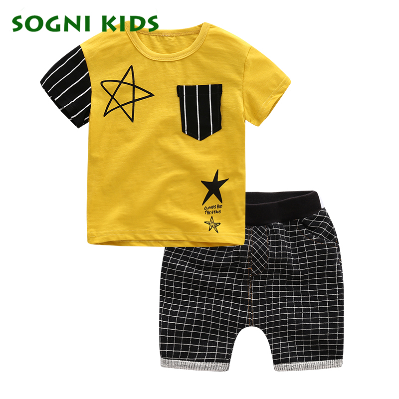 SOGNI KIDS summer casual star printing boys clothing sets clothes kids short sleeves T-shirt and shorts toddler baby boy clothes