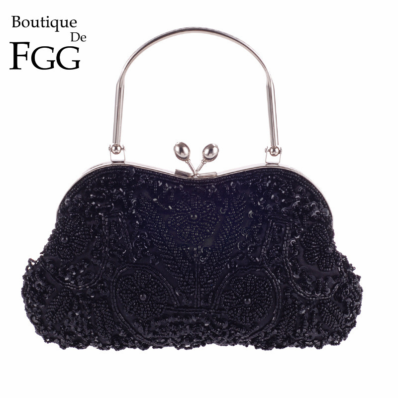 Hand Made Black Beaded Sequins Women Metal Frame Evening Clutches Purse Bridal Wedding Formal Dinner Chain Shoulder Handbag Bag-in Top-Handle Bags from Luggage & Bags