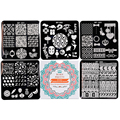 BORN PRETTY 5Pcs Nail Stamping Plate Pretty Manicure Nail Art Image Plate Template BP-X01~X05 6*6Cm