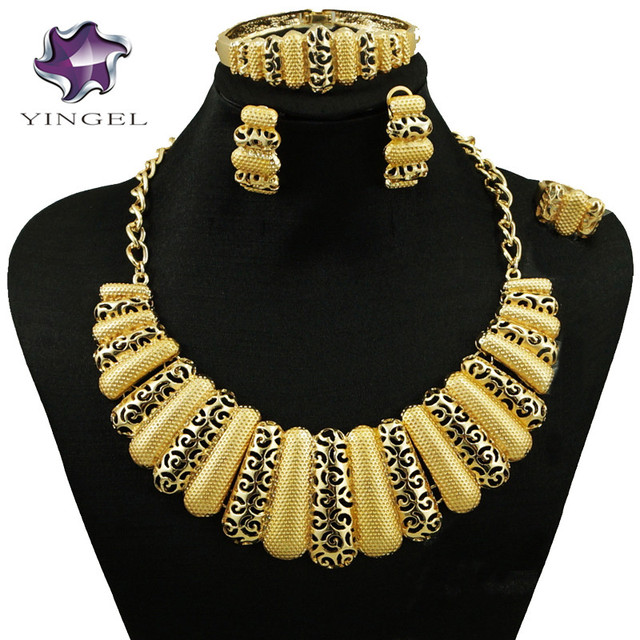 African Women Necklace Costume Jewelry Set Gold Sets Best Quality Whole