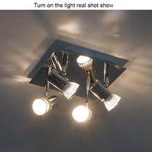 LED Spot Light AC 100-220V 12w 300LM 4 Head Ceiling Lights with Swiveling Spots GU10 for Kitchen Room