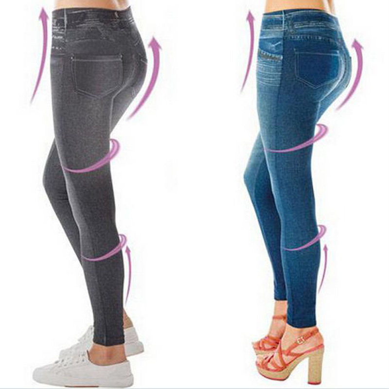 Plus Size Sexy Push Up Fake Jeans Leggins for Women Denim Pencil Pants Slim Fitness Jeggings   Leggings   With Two Real Pockets