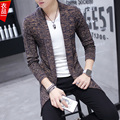 A nova camisola homem magro Coreano casaco longo casaco cardigan casaco de lã Britânico masculino