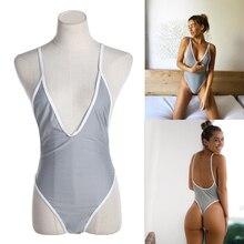 Sexy T-back Women's One-piece Swimsuits Unpadded Bikini Backless Swimwear Summer Swimming Wear Monokini Sunbathing Suit