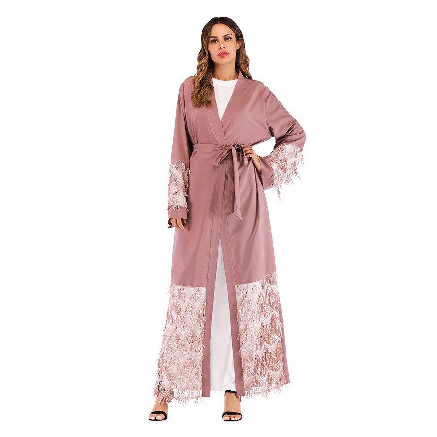 Paillettes Colore Musulmana Rosa Maglia Donne Vento Le Fasce Cappotti  Cappotto Vestaglie Apri Fiocchi Giacca Lunga ... 57b96c9e5deb