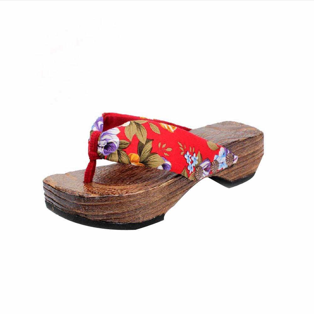 ฤดูร้อนรองเท้าไม้ผู้หญิงแฟชั่นเลดี้ Casual Bohemian รองเท้าแตะ Clog ไม้รองเท้าแตะรองเท้าแตะผู้หญิงฤดูร้อนชายหาดรองเท้า