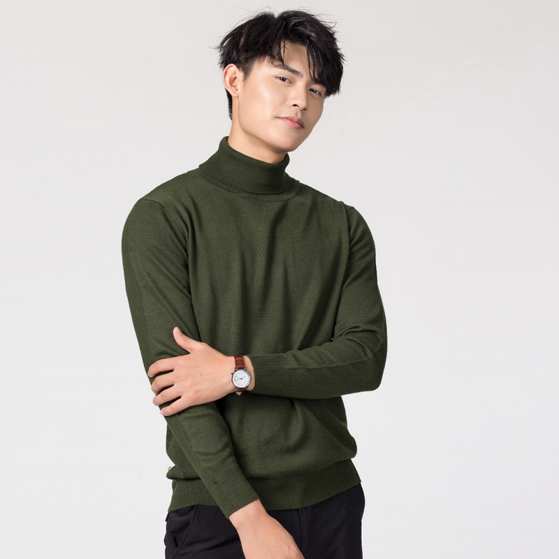 Image 4 - Man Sweaters Cashmere and Wool Knitted Jumpers 11Colors Hot Sale Winter Fashion Turtleneck Pullover Men Woolen Clothes Male TopsPullovers   -