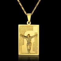 Vintage Jesus Necklace New Choker 18K Gold Plated Women Men Jewelry Wholesale Stainless Steel Colar Cross