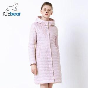 Image 3 - ICEbear 2019 nowa damska kurtka wysokiej jakości z kapturem na jesień płaszcz damski odzież bawełniana jednorzędowy średniej długości GWC19067I