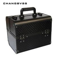 Большой размер Черный органайзер для макияжа, Косметическая Шкатулка для украшений, косметическая коробка для хранения, держатель для сумк