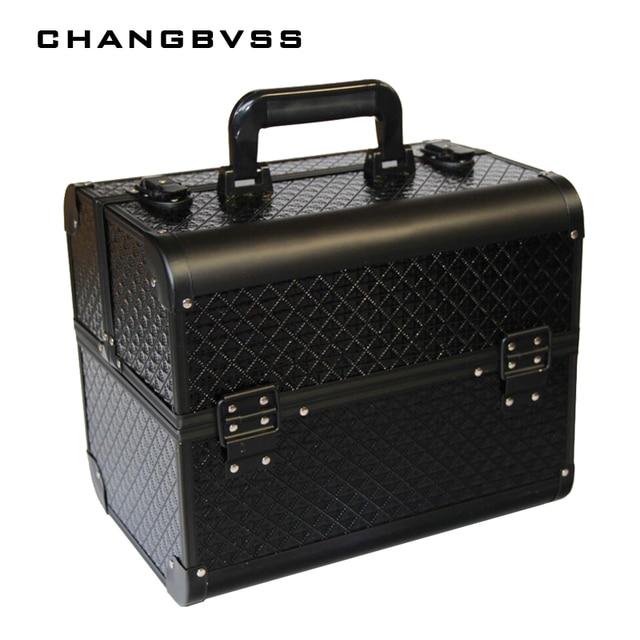 Big Size Black Makeup Organizer,Cosmetic Jewelry Box,Make Up Cosmetic Storage Boxes Handbag Holder,Travel Makeup Suitcase Gifts