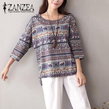 08bf34f0965 ZANZEA 2019 otoño mujer algodón Lino blusa Blusas moda 3/4 manga impresa  nacional viento camisa suelta Vintage Tallas grandes