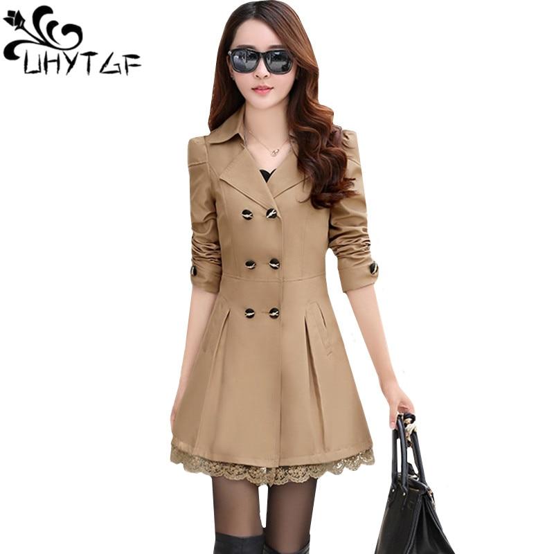 UHYTGF Fashion Korean Spring Autumn Outerwear Female Double-breasted Lace Elegant Women's Jacket Slim Long Windbreaker Coats 139