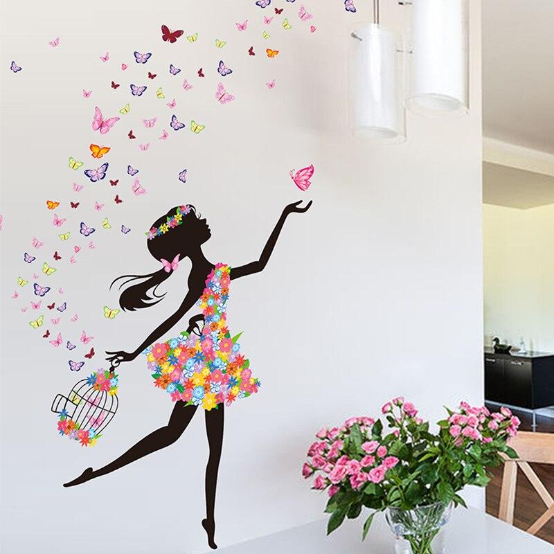 Romantic New Dancing Butterfly Girl Wall Sticker Creative Flowers ...