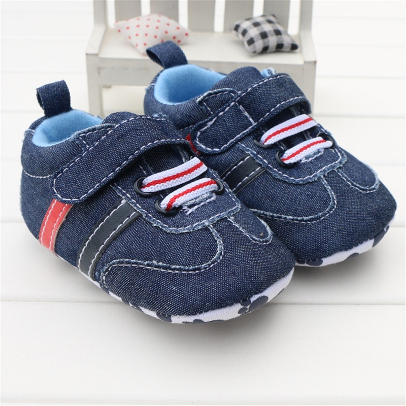 Toddler Infant Baby Boy Sko Navy Blue Denim Jeans Spændebånd Casual Newborn Boys Sneaker Soft Sole Piger Sko Tenis Menino