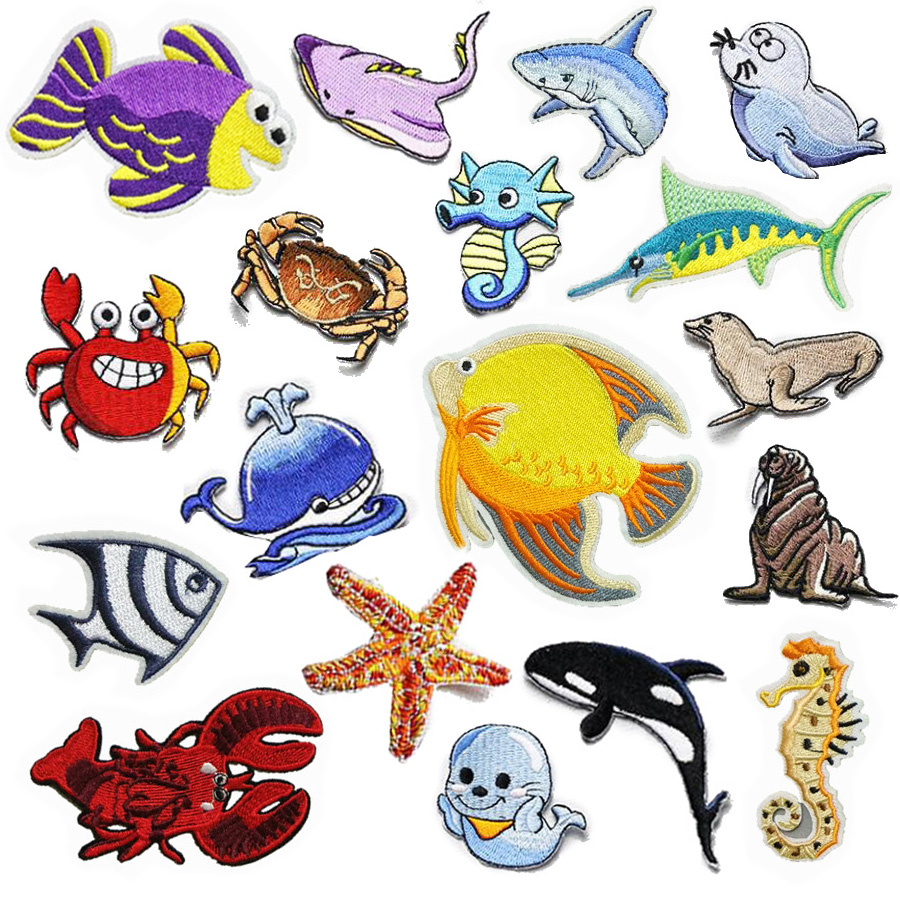 Cartoon Undersea World Fish Embroidered Patches Iron On Stickers For Clothing Applique Diy Accessories Clothes Badges For Kids