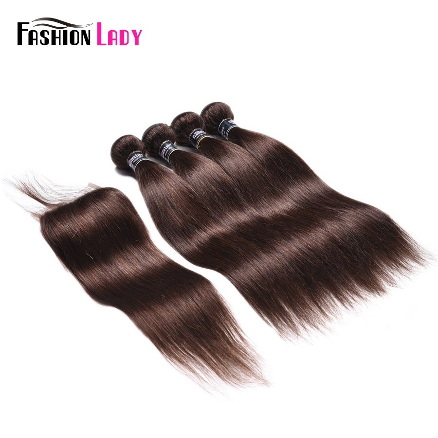 Fashion Lady Pre-Colored 4 Bundles With Lace Clousre 2# Natural Brown Color Malaysian Straight Human Hair Products Non-Remy Hair