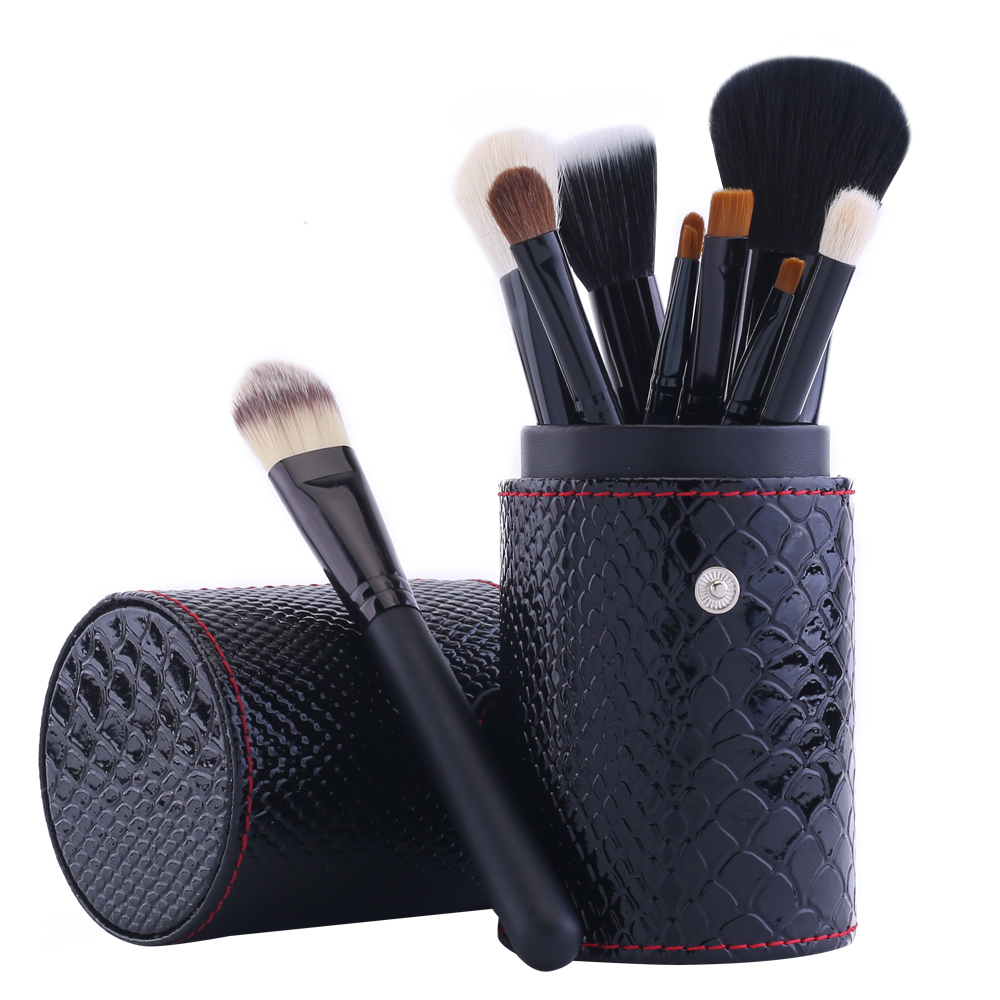 12 pcs Snakeskin Pattern Makeup Brushes Professional Cosmetics Make up Brush Set + Comestic Brushes Cup Organizer Case