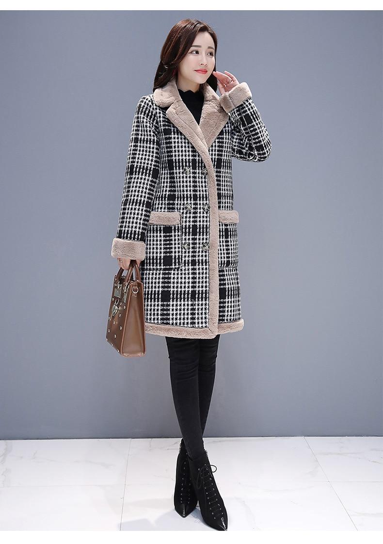 Color photo Color Photo En Mode Cachemire Nouveau Manteaux Élégant Longues Manteau Femme 1951 Laine Vêtements Treillis Manches À Automne Épaississent De Hiver HnORxnUqp