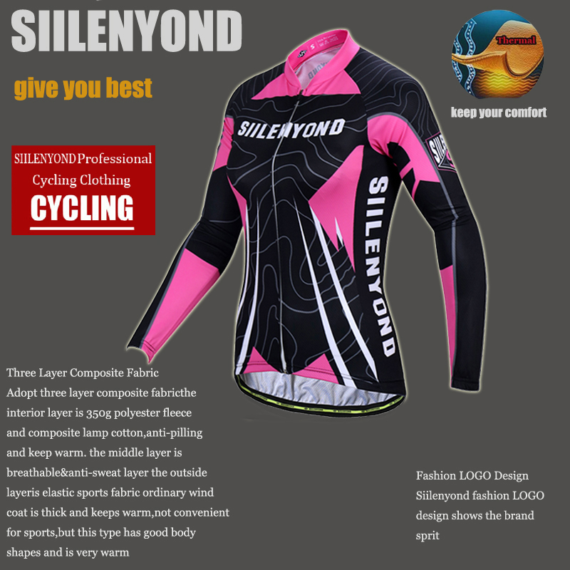 Siilenyond 2019 Women Pro Winter Thermal Cycling Jersey Long Sleeve Mountain Bicycle Cycling Clothing MTB Bike Cycling Clothes 5