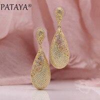 PATAYA New 585 Rose Yellow Gold True White Gold Micro Wax Inlay Natural Zircon Long Stud Earrings Women Wedding Luxury Jewelry