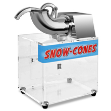 SUCREXU Commercial Electric Dual Blades Ice Crusher Shaver 440lbs/hr Stainless Steel Snow Cone Maker Machine with Acrylic Box