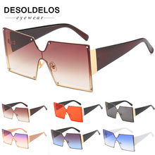 2019 Fashion Square Sunglasses Women Brand Designer Oversized Gradient Blue Black One Piece Sun Glasses New Style Shades UV400