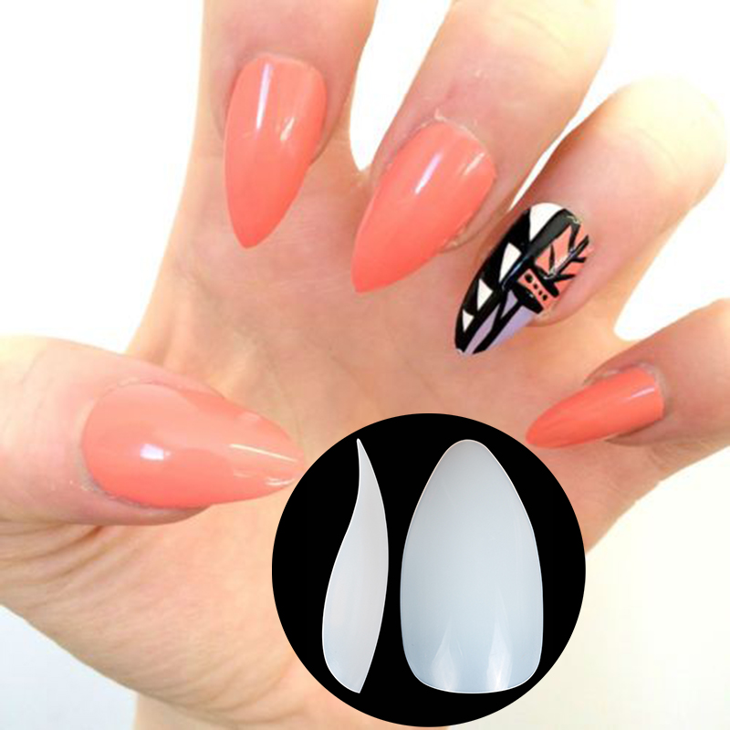 Nadeco New Fake Nail in Shark Shape, Plain Nail Sticker, Salon Nail ...