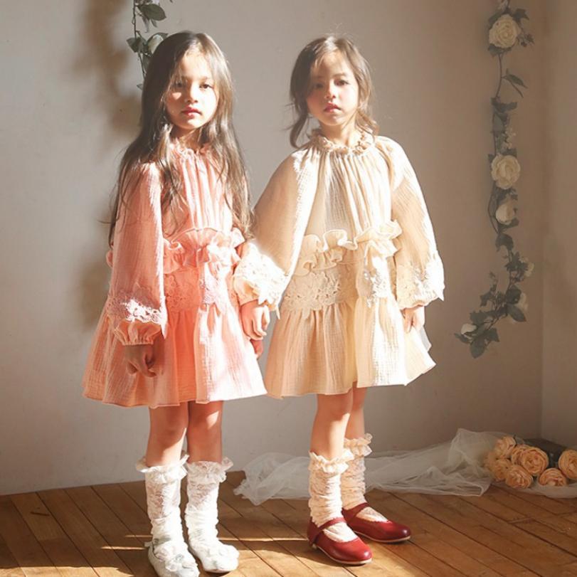 Baby Girls Lolita Princess Dress Baby Girl Clothes 2019 Spring New Lace Ruffles Spliced Cute Dress Long Sleeve Sweet Dress Y518 girl