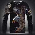 Águia padrão de impressão 3D de alta qualidade do estilo chinês lã & camisola de algodão 2016 Outono & Inverno moda casual camisola dos homens M-XXXL