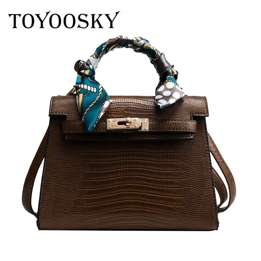 fbc29aaf0bd3 TOYOOSKY Vintage Women Bag Female PU Leather Alligator Platinum Handbag  Large Capacity Fashion Single Shoulder Bag for Girl SAC-in Shoulder Bags  from ...