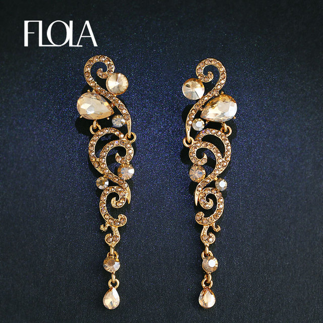 Flola New Luxury Long Gold Earrings Angel Wings Cz Austrian Crystal Dangle Women Wedding