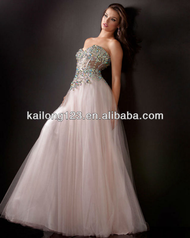 1a861e1202b Ornate Sweetheart Beaded Corset Top Sheer Panels Floor length Pink Tulle  Ball Gown Prom Dresses-in Prom Dresses from Weddings   Events on  Aliexpress.com ...