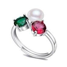 2016 Joyería De Plata Color De La Perla Anillo Joya Anillo de Perlas de Agua Dulce Anillos de Bodas de Plata de ley 925 Anillos Para Las Mujeres