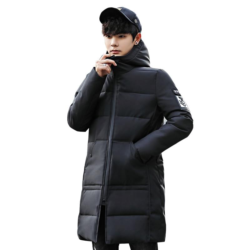 2018 Winter Jacket Men Hooded Slim Korean Parka Hombre Long Jacket Coat Mens Windbreaker Parkas Cotton Youth Clothing
