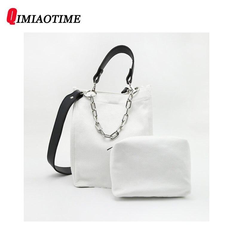 Canvas Handbag Designer Casual Casual Mother Bag Shoulder Bag Student Personality Wild Harajuku Chic Chain Bag