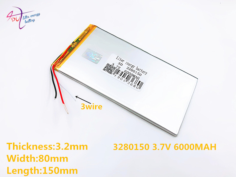3 line Good Qulity 3280150 <font><b>3.7V</b></font> <font><b>6000mAH</b></font>(Real 5900mAh) Li-ion <font><b>battery</b></font> <font><b>for</b></font> V88, V971, M9 <font><b>Tablet</b></font> PC, 3282150 image