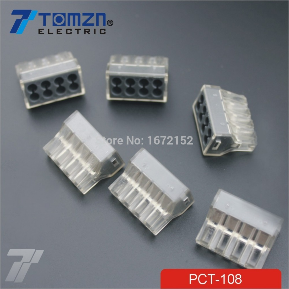 20pcs Pct 108 Push Wire Wiring Connector For Junction Box 8 Pin Of Iron Conductor Terminal Block In Connectors From Lights Lighting On Alibaba