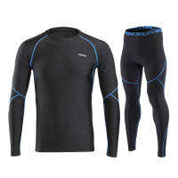 Arsuxeo Winter Thermal Fleece Men's Sport Cycling Base Layer Sets Gym Fitness Compression Running Underwear Set Sportswear Suits