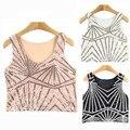Sexy geométrica chaleco Crop Tops sin mangas con lentejuelas mujeres Tanks & Camis camisetas moda marca de verano camiseta Tees 008